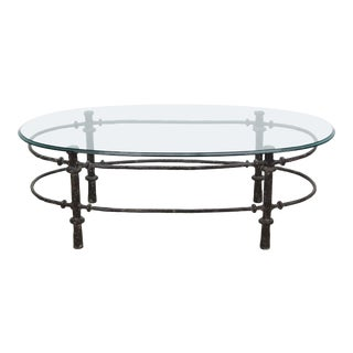 Giacometti Style Patinated Metal Coffee Table, Vintage Sculptural Iron Coffee Table With Oval Glass Top For Sale