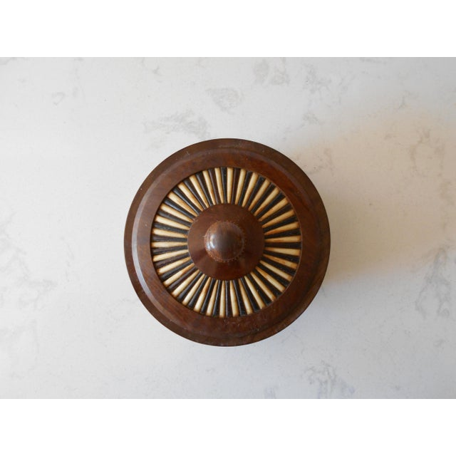 Ethiopian Olive Wood & Porcupine Quill Lidded Bowl For Sale - Image 4 of 6