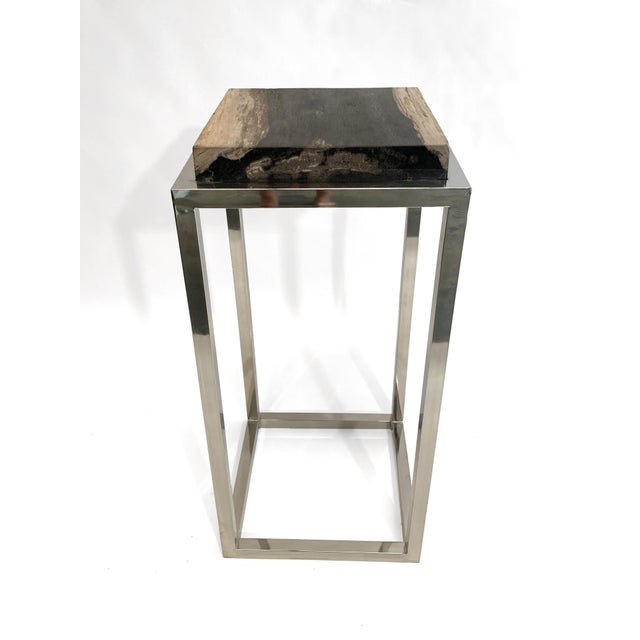 Modern Palecek Fossilized Stone Tall Side Table With Chrome Base For Sale In Atlanta - Image 6 of 6