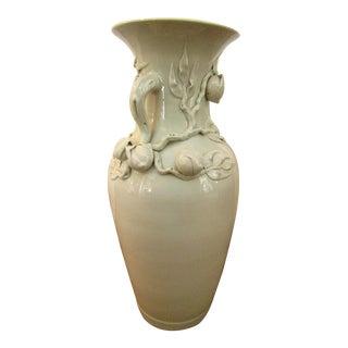 Pale Green Ceramic Botanical Motif Vase