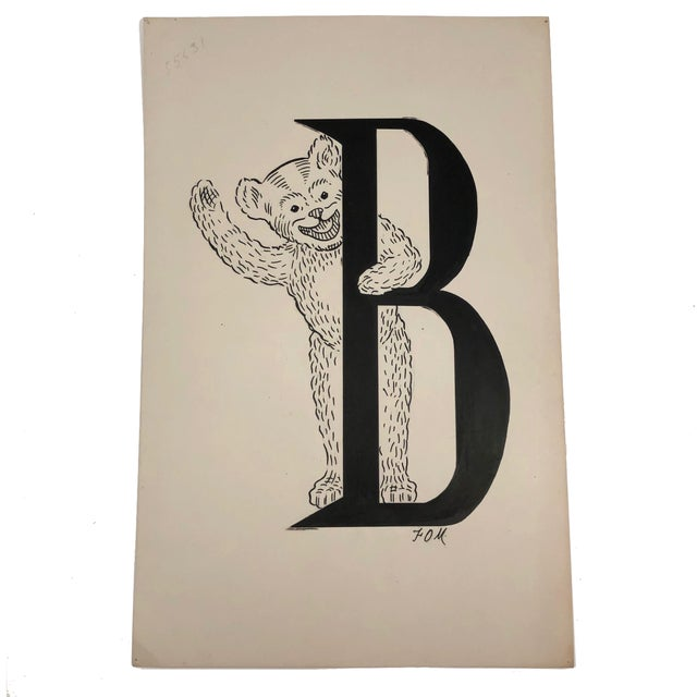 Mid 20th Century B for Bear Original Alphabet Ink Drawing For Sale - Image 5 of 5