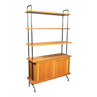 "56"" Blackened Steel and Birch Standing Shelf, Switzerland, 1950s"