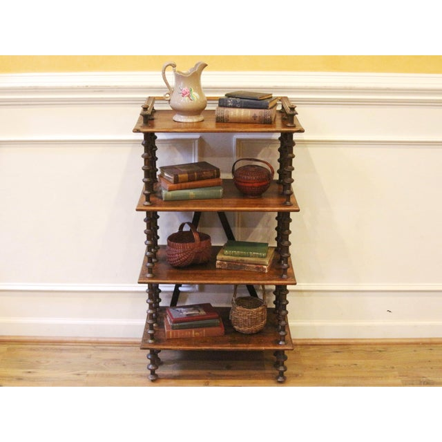 Fabulous and rare antique rustic folk art wooden spool shelves made in america during the late 1800's. With 4 rustic...
