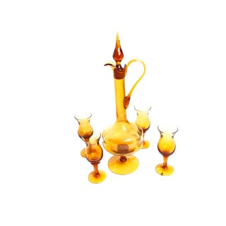 Mid-Century Hand Blown Amber Glass Decanter Drinking Set For Sale