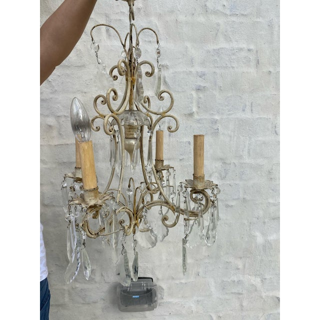 Metal Antique 1940s Painted Metal and Crystal Chandelier For Sale - Image 7 of 7