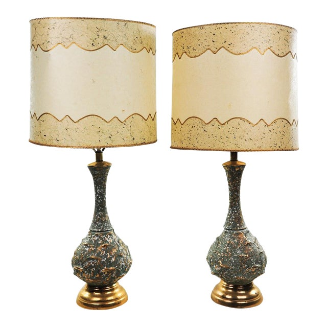 Mid-Century Modern Ceramic Textured Table Lamps - a Pair For Sale