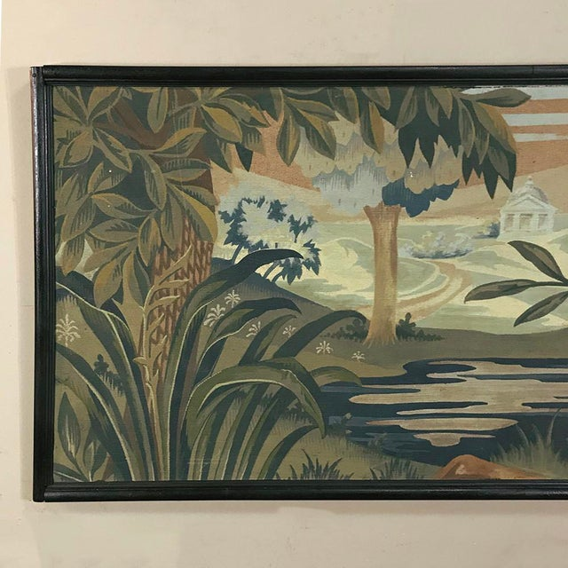 Forest Green Art Deco Period Flemish Framed Tapestries-a Pair For Sale - Image 8 of 13