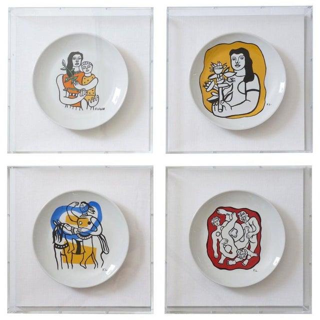 Vintage Framed Fernand Leger Porcelain Plates - a Set of 4 Different in Lucite Shadowbox Frames For Sale - Image 13 of 13