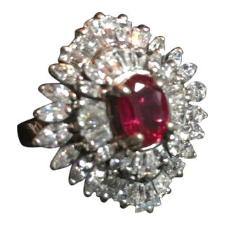 Artist-Signed Sterling, Cubic Zirconia & Synthetic Ruby Cocktail Ring, 1970s For Sale