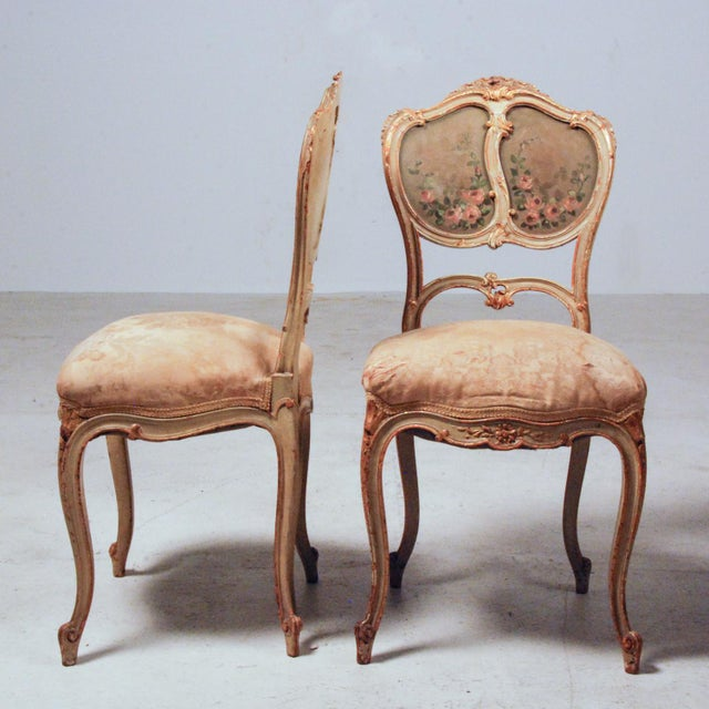 French Gilt & Painted Boudoir Chairs - A Pair For Sale In Richmond - Image 6 of 11