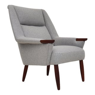Danish High Back Armchair, Completely Reupholstered, 1970s , Wool Fabric For Sale