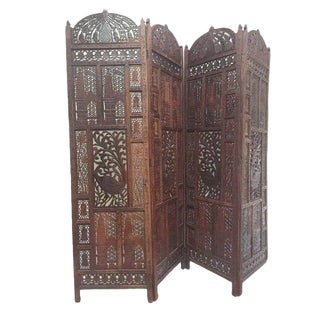 1970s Anglo-Indian Teak Carved Folding Screen For Sale