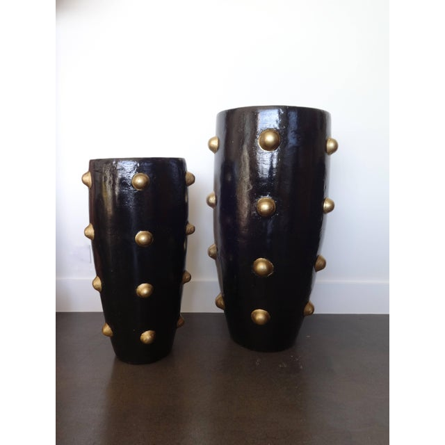 Modern Unique Pair of Black and Gold Sculpture Planters For Sale - Image 3 of 8