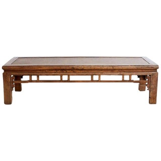 Chinese Hardwood Bench Coffee Table With Raffia Seat For Sale