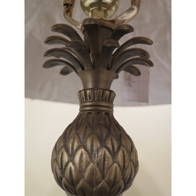 1990s 1990s Vintage Brass & Ebony Pineapple Table Lamp For Sale - Image 5 of 9