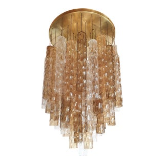 Large Mid Century Modern Bamboo Murano Glass/Brass Flush Mount by Mazzega For Sale