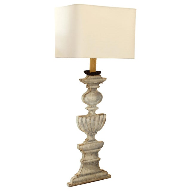 Gray Trompe l'Oeil Candlestand Lamp For Sale - Image 8 of 8