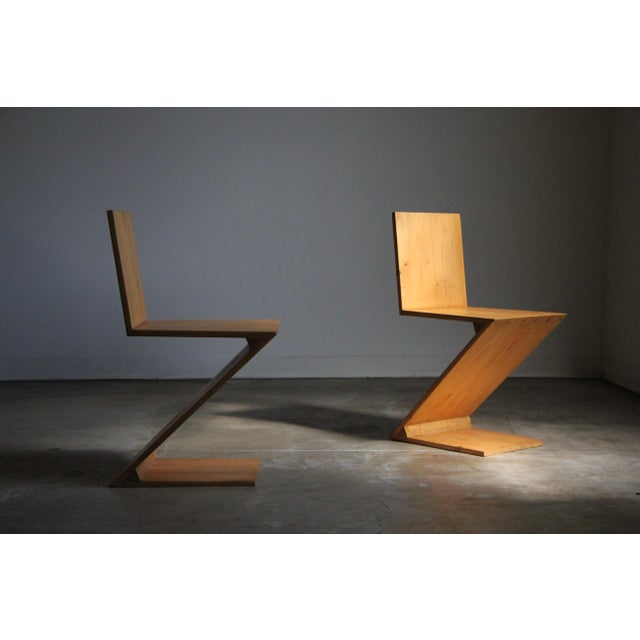 Vintage Gerrit Rietveld Style Zig Zag Chairs - a Pair For Sale - Image 12 of 13