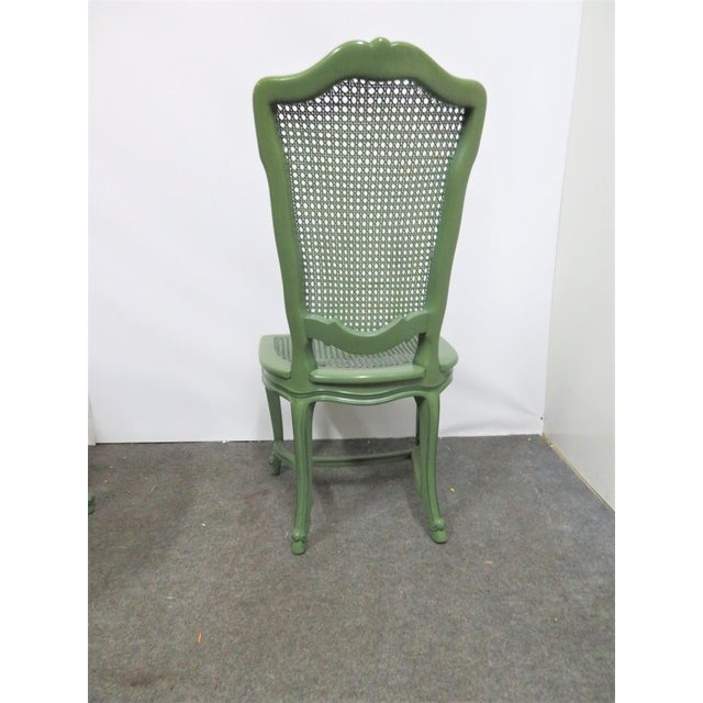 Wood Louis XV Custom Painted Caned Dining Chairs- Set of 6 For Sale - Image 7 of 8
