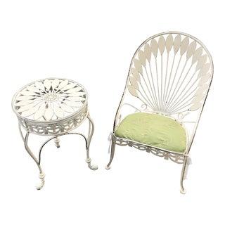 Vintage Peacock Metal Chair &Table