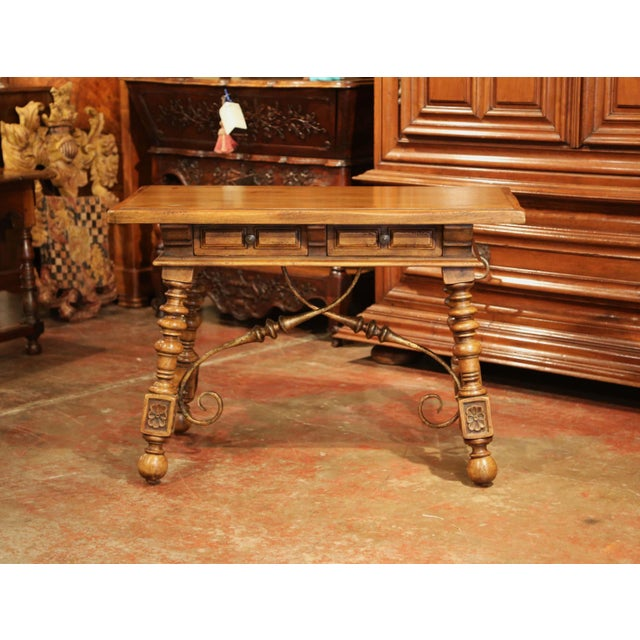 Complete your study or library with this beautifully carved, fruit wood table desk from Spain. Carved, circa 1920 the...