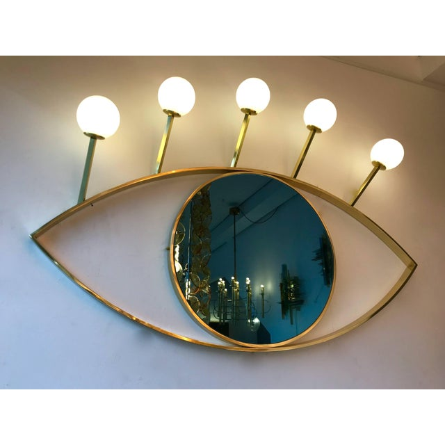 Contemporary Contemporary Brass Wall Lightning Sconces Mirror Blue Eyes, Italy For Sale - Image 3 of 10
