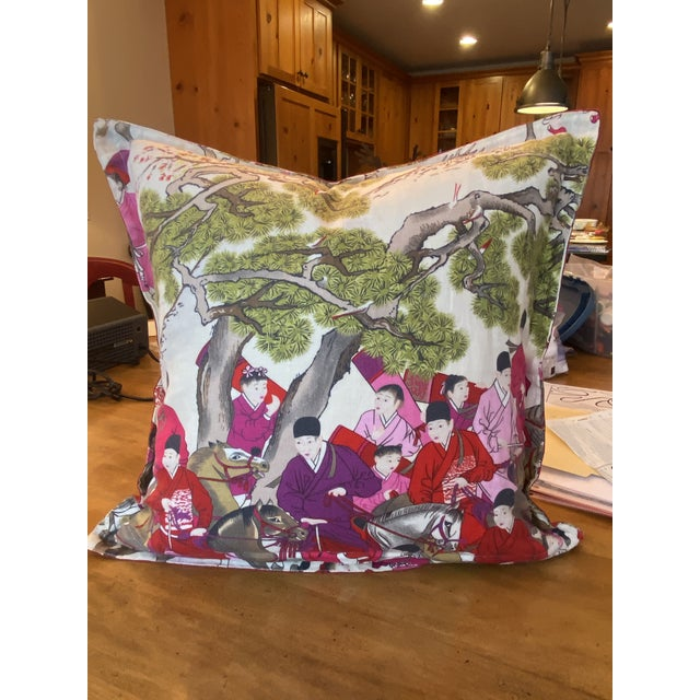 "Manuel Canovas Pair of Asian Style French Manuel Canovas Les Caveliers Feather/Down Pillows - 22"" Square For Sale - Image 4 of 8"