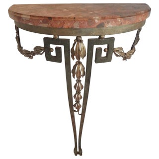 Late 19th Century Antique French Louis XVI Style Iron Console For Sale