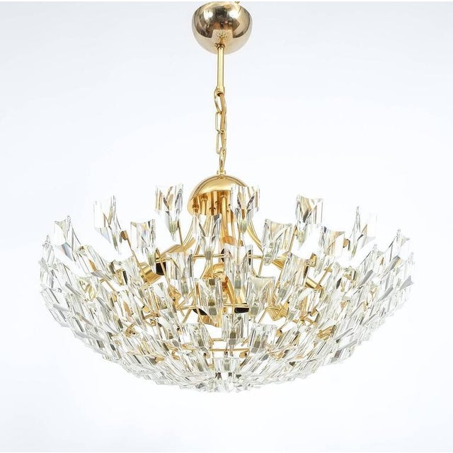 Large Glass and Brass Chandelier by Stilkrone Italy , circa 1970 For Sale - Image 9 of 9