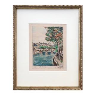 "Vintage French Hand Colored Etching ""Paris Le Pont Neuf"" by Dinchat For Sale"