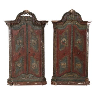 Pair 18Th C. Continental Carved Cabinets For Sale