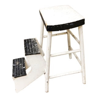 Vintage Cottage Chic Shabby Black & White Wood Step Stool