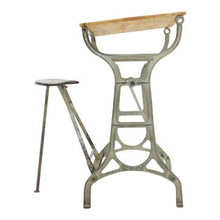 Industrial Metal & Wood Working Desk With Stool, 1930s For Sale