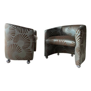 Barrel Back Swivel Chairs With Clarence House Fabric For Sale