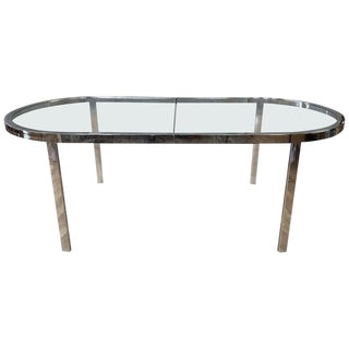 Milo Baughman Chrome and Glass Racetrack Dining Table, 1970s For Sale