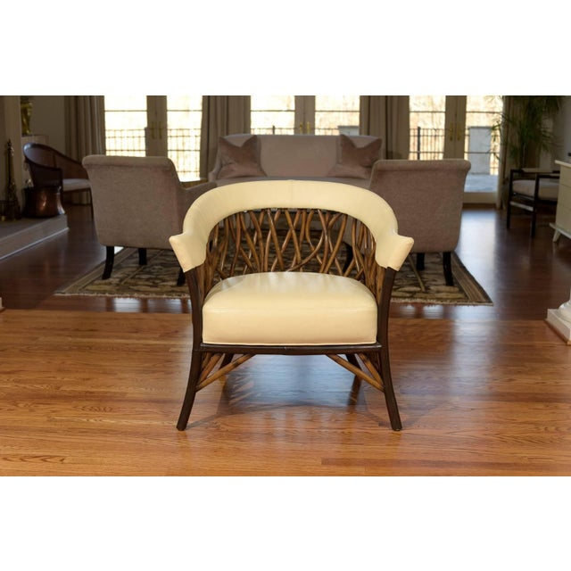 White Stunning Pair of Rattan Club Chairs in Parchment Leather For Sale - Image 8 of 10