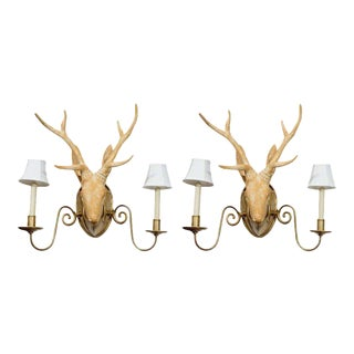 Deer Head Sconces in the Manner of Lalanne - A Pair For Sale