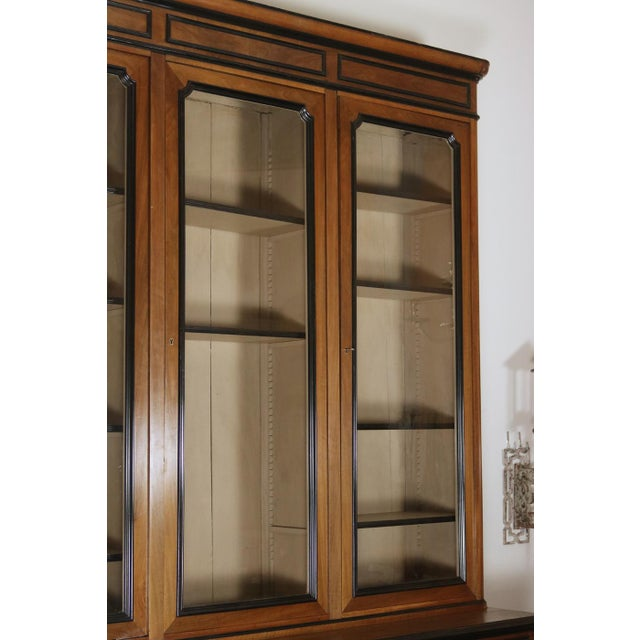 Mid 19th Century French Walnut Bureau Bookcase With Ebonized Trim and Original Glazing For Sale In San Francisco - Image 6 of 9