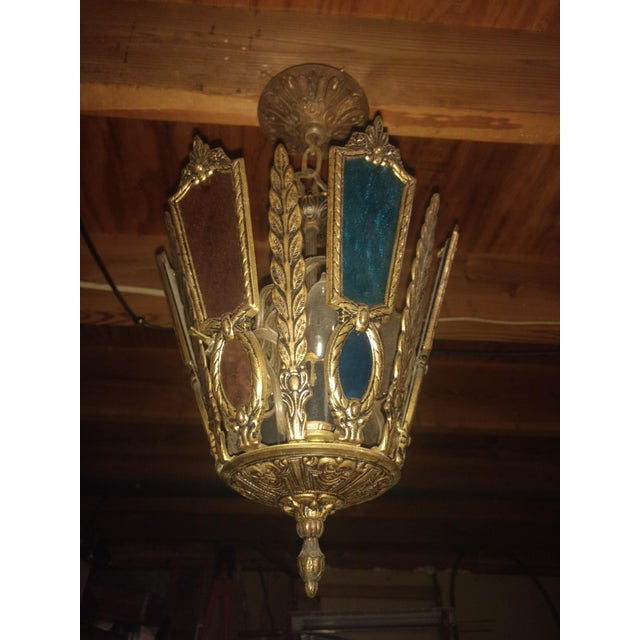 Antique Stained Glass Chandelier For Sale - Image 4 of 4