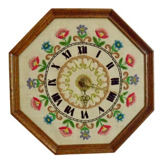 Vintage Handmade Crewel Wall Clock For Sale
