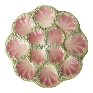 1890s Cottage Majolica Oyster Plate Keller & Guerin Saint Clement For Sale
