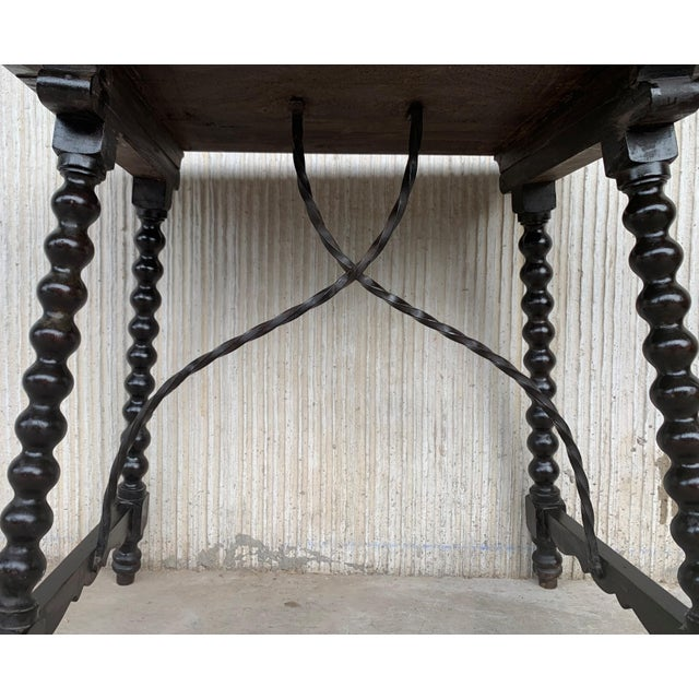 19th Spanish Baroque Side Table With Iron Stretcher and Carved Top in Walnut For Sale In Miami - Image 6 of 12