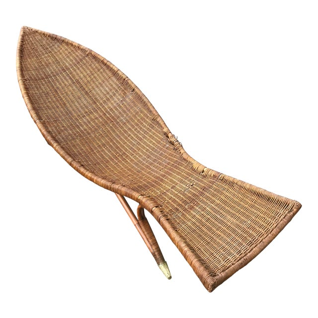 1930s Lina Zervudachi for Elsa Schiaparelli Rattan Bamboo and Brass Wicker Fish Chaise Lounge Chair For Sale