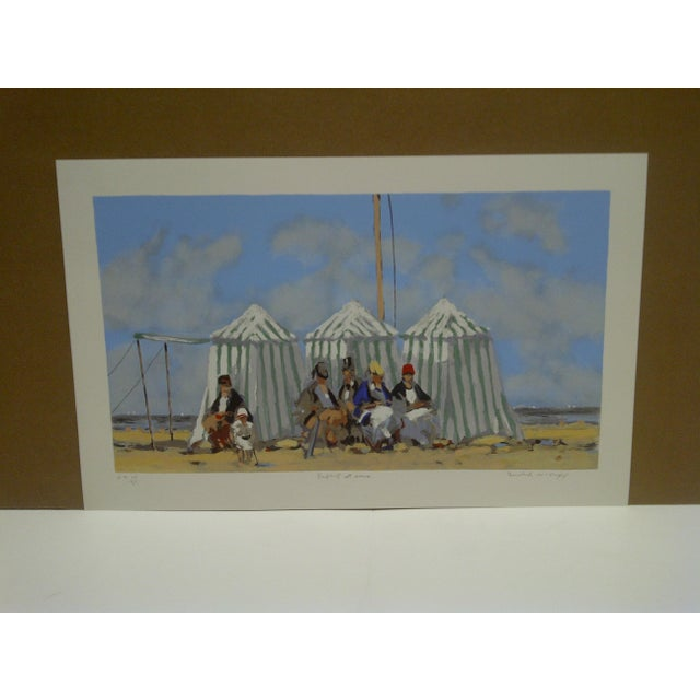 """This is a limited edition, numbered (14/35) and signed artists proof, titled """"Tents On The Beach"""" by Frederick McDuff."""