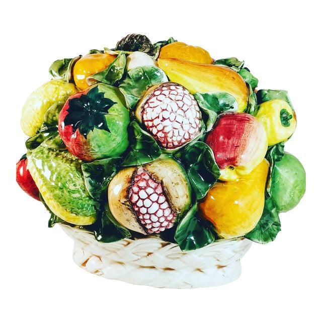 Vintage Majolica Intrada Italian Ceramic Fruit & Vegetable Oversized Basket Pottery Centerpiece For Sale