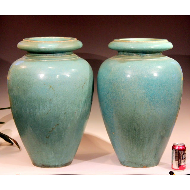 Art Deco Large Pair of Galloway Terracotta Company Pottery Turquoise Urns Vases For Sale - Image 3 of 12