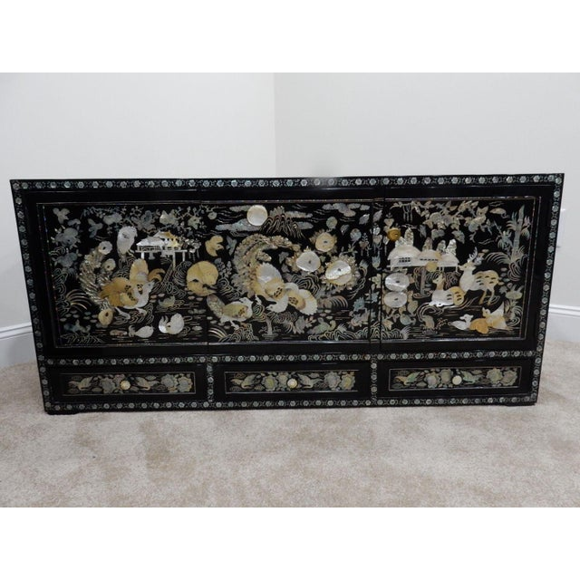Lacquer Chinese Mother of Pearl Inlaid Lacquered Cabinet For Sale - Image 7 of 11