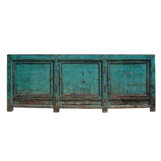 Distressed Dark Teal Blue Finish High Credenza Console Buffet Table For Sale