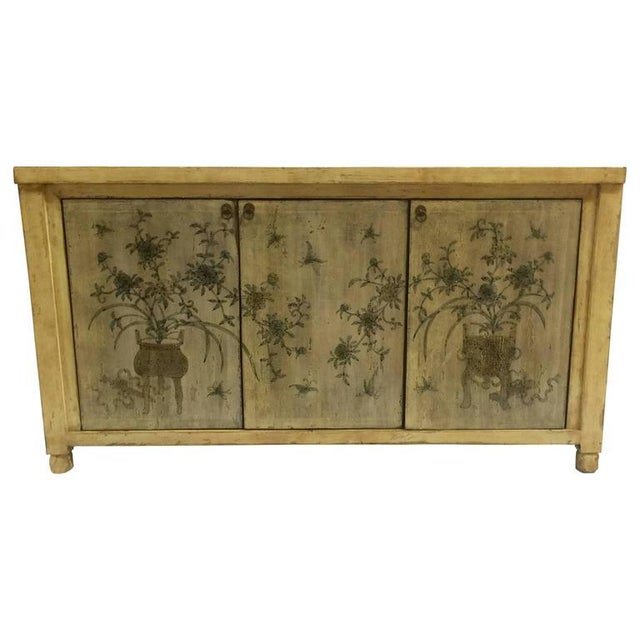 1970s Asian Style Credenza With Floral Motif Hand-Painted Door Panels For Sale In West Palm - Image 6 of 11