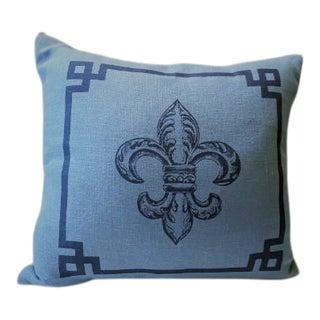 Fleur De Lis Blue Mist Linen Pillow For Sale